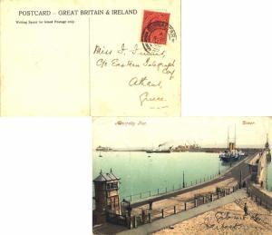 Gibraltar 1d KEVII 1906 Gibraltar, 25 PPC (Admiralty Pier, Dover) to Athens, ...