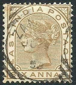 Zanzibar SGZ60 6a Pale Brown Z5 Squared Circle dated 9th June 1893