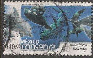 MEXICO CONSERVA 2266, $10P MARINE MAMMALS. USED. VF. (1106)