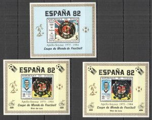 G0830 IMPERF CHAD FOOTBALL WORLD CUP 1982 GOLD SILVER APOLLO SOYUZ OVERPRINT MNH