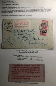 1937 George South Africa Christmas Concession Label Cover To Whitley Bay England
