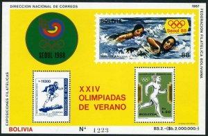 Bolivia 712b/C299b Michel Bl.166,MNH. Olympics Seoul-1988:Running,swimming.