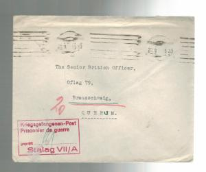 1944 Stalag 7 A Germany Inter POW Camp Cover to Oflag 79 British Officer