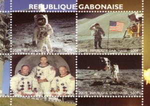 Gabon 2009 SPACE Astronauts Sheet Perforated mnh.vf