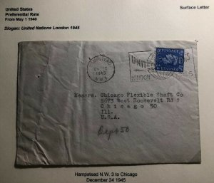 1945 Hampstead England Cover To Chicago USA United Nation Slogan Cancel