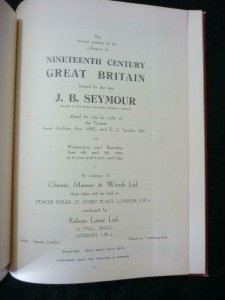 ROBSON LOWE AUCTION CATALOGUE 1951 GB THE 'J B SEYMOUR' COLLECTION PART 2 BOUND