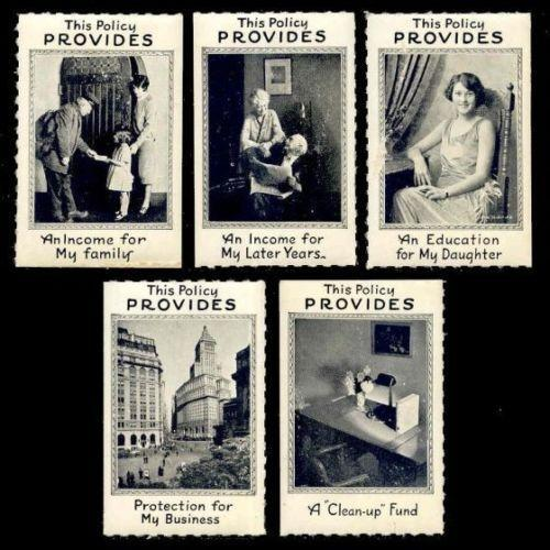 Insurance - 5 Generic Advertising Poster Stamps