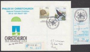 NEW ZEALAND 1991 Philex registered cover with $4 Bird - Saddleback..........L606