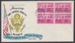 US Mel 1067-8 FDC. 1955 3c Armed Forces Reserve, Fluegel Color Cachet, VF