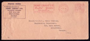 LINDSAY ENGINEERS ENGLAND TO STATION WJOY IN VERMONT - ER STAMPED COVER 1955