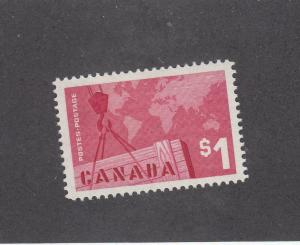 CANADA (MK3459) # 411 VF-MVLH  $1 CRANE AND MAP / ROSE CARMINE CAT VALUE $12