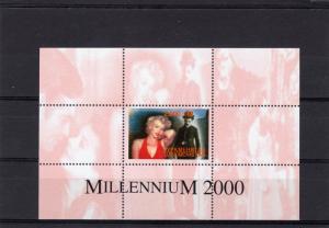 Turkmenistan 2000 Marilyn Monroe-Charles Chaplin-Millennium S/S Perforated MNH
