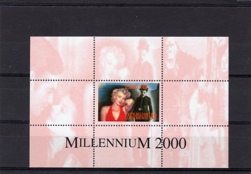 Turkmenistan 2000 Marilyn Monroe-Charles Chaplin-Millennium S/S Perforated MNH