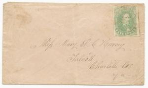 CSA Scott #1 Stone 1 on Cover Red Smithfield, VA CDS Marc 4, 1862