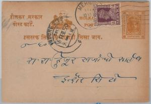 52348 - INDIAN STATES: INDORE - POSTAL STATIONERY CARD used with INDIAN STAMP