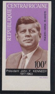 Central Africa # C24, John F. Kennedy Memorial, Imperf, NH