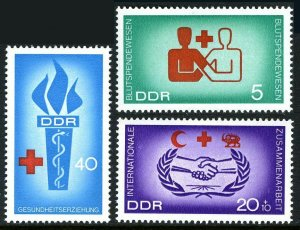 Germany DDR/GDR 854-855,B142, MNH. Blood donations and Health education, 1966