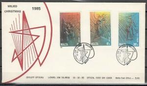 Malta, Scott cat. B54-B56. Religious Christmas issue on a First day cover.