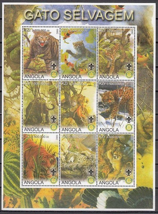 Angola, 2000 Cinderella issue. Wild Cats Vertical sheet of 9. Scout and Rotary.