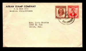 Philippines 1954 Afran Stamp Company Cover to USA / 6c Franking - L22591