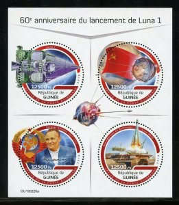 GUINEA 2019 60th ANN OF THE LAUCH OF LUNA 1  SHEET MINT NEVER HINGED