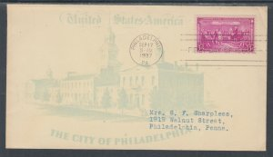 US Planty 798-13b FDC. 1937 3c Constitution, FIRST CACHET Historic Society of PA