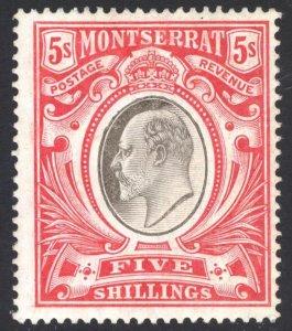 Montserrat 1904 5s Carmine & Black EVII Wmk MCA Scott 31 SG 33 MLH Cat $160