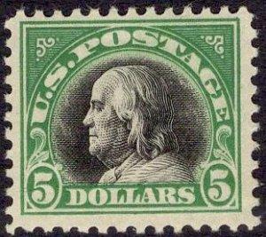 US Stamp #524 $5 Franklin MINT Hinged SCV $160. Rich color.