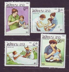 J23433 JLstamps 1985 laos set mhr #669-72 health