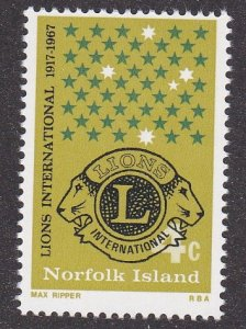 Norfolk Island # 114, Lions International 50th Anniversary, NH