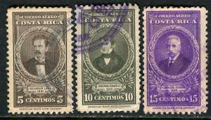 Costa Rica; 1948: Sc. # C179-C181: O/Used Cpl. Set