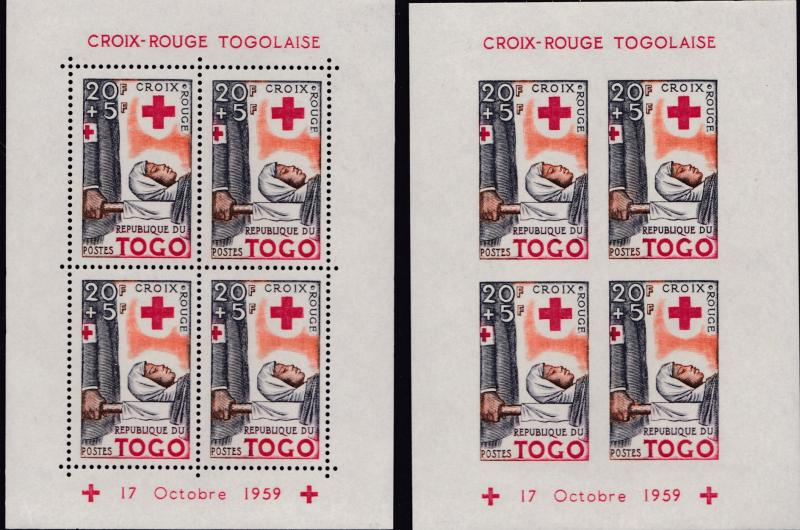 Togo French Colony 1959 Semi-Postals Sheets Perf+IMPERF.RED CROSS  XF+/NH