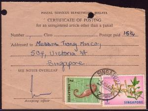 SINGAPORE 1968 CERTIFICATE OF POSTING with 1c & 2c defs