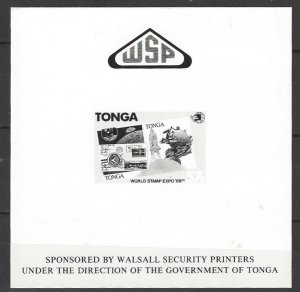 Tonga 729  IMPERF MNH  World Stamp Expo '89 Walsall Security Sheet
