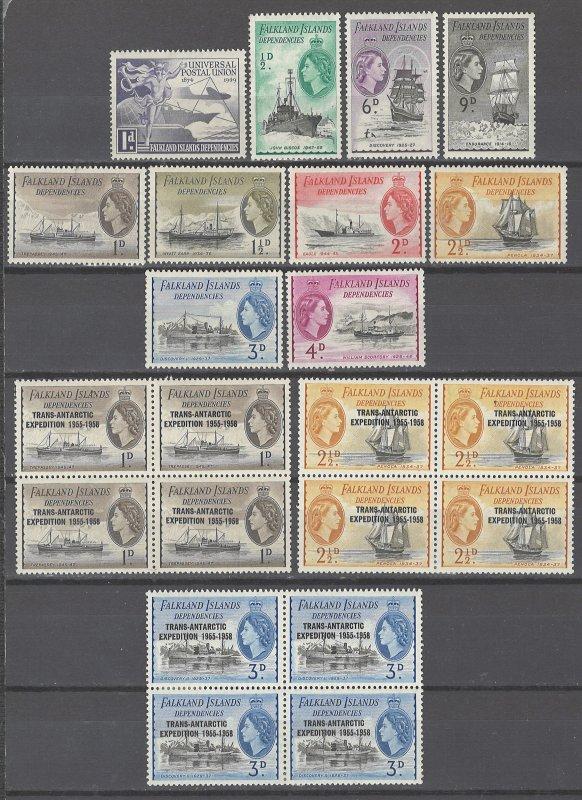 COLLECTION LOT # 2368 FALKLAND ISLANDS DEPENDENCIES 22 STAMPS 1949+  CV+$23