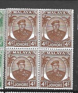 MALAYA JOHORE (P0301B) 4C SULTAN BL OF 4  SG 136  MNH