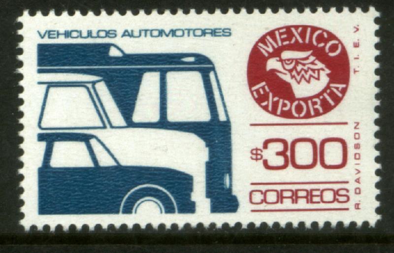 MEXICO Exporta 1495b, $300P Cars/Buses Fosfo Paper 10 MNH