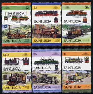 St Lucia 1984 Locomotives #2 (Leaders of the World) set o...
