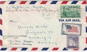 United States 1958 Airmail Lufthansa+ SuperStar Bk Slogan 3xStamps Cover rf22221