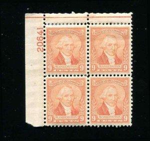 #714  MH  9¢ Plate Block Washington Upper Left Position