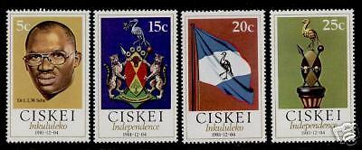 Ciskei 1-4 MNH Independence, Crest, Flag, Birds, Animals