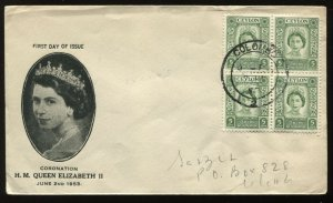 Ceylon QEII 1953 Coronation cacheted First Day Cover with block of 4