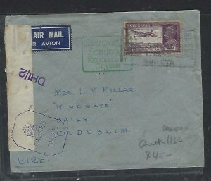 PAKISTAN (PP0711B) COVER TO IRELAND KGVI 14A CENSOR A/M TO IRELAND QUETTA L132