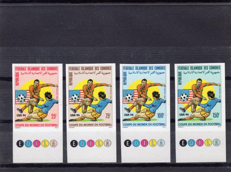 Comoro Islands 1993 World Cup USA '94 Set (4) IMPERFORATED Sc#801/804