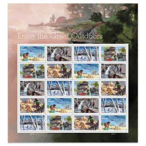 U.S. stamps 2020. (Pre-order) - Enjoy the great outdoors. (20 marks). Full sheet