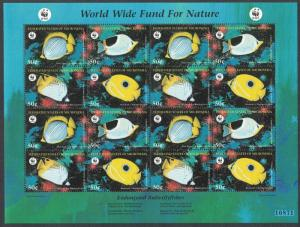 Micronesia WWF Butterflyfishes Sheetlet of 4 sets SG#579-582