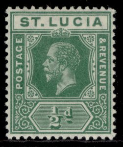 ST. LUCIA GV SG78, ½d deep green, LH MINT.