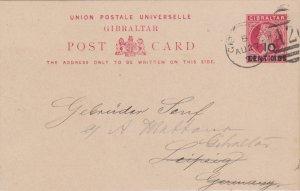 Gibraltar 1d QV Postal Card Overprinted 10 Centimos 1894 Gibraltar A26 duplex...