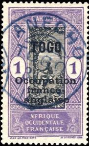 TOGO - 1917 - CAD ALLEMAND ANECHO / TOGO EN BLEU SUR N°84 - SUPERBE