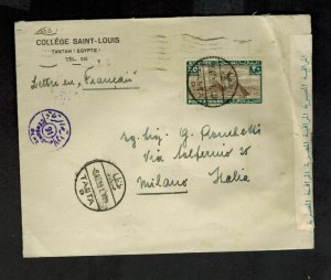1939 Tantah Egypt Censored Cover to Milan Italy College St Louis Bishop Berger